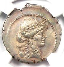 P. Clodius Mf. Turrinus AR Denarius Coin 42 BC -  NGC Choice AU - 5/5 Surface!
