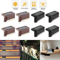 4pcs LED Solar Deck Lights Waterproof Outdoor Pathway Yard Stairs Fence Lamps