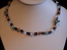 Hematite, Jade, Carnelian, and Crystal Quartz Chips Choker/Necklace 17 inch
