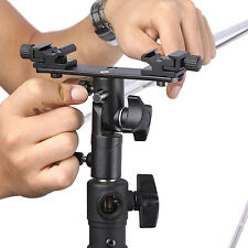 Swivel Dual Hotshoe Flash Flashgun Speedlite Bracket Umbrella Holder Light Stand