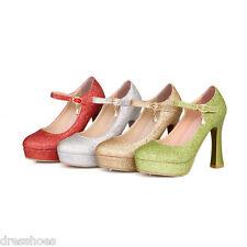 Women's Mary Janes Wedding Shoes High Heels Strap Platform Pumps AU Sz 2~10 D079