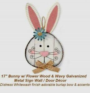 "17"" Distress Whitewash Bunny w/ Flower Wood & Galvanized  Metal Sign Wall / Door"