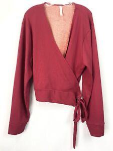 Fabletics Womens 3X Top Mandy Side Tie Wrap Cherry Burst Fresh Apricot Ballet LS