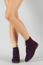 Purple Faux Suede Lace Up Flat Fashion Ankle Boot Bootie 6.5 us Qupid Strip-68