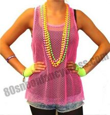 80s Mesh Net Sleeveless Vest Top Neon Pink - 80s Fancy Dress
