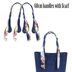 Long PU Handles Flat With Airhole Plus Floral Scarf Decoration for Obag O Bag
