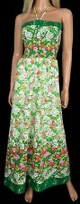 Vintage 70s 80s Smocked TUBE MAXI DRESS Green Floral Strapless Neiman-Marcus M/L