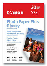 """Canon Photo Paper Plus Glossy 5"""" x 7"""" - 20 Sheets - for Inkjet/PIXMA Printers"""