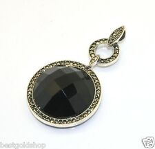 Faceted Black Onyx Two Row CZ Pendant Sterling Silver 925 13.4gr