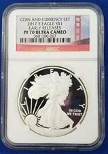 """2012-S US Pf. Silver Eagle $1 NGC PF70 UC""""Early Release Coin and Currency L7609"""