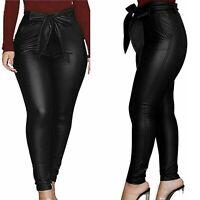 Luxussize - Damen Hose Lederoptik - Bindegürtel, hohe Taille - Schwarz - 46