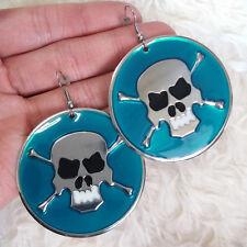 Cool Punky Blue Skull Metal Charm Dangle Chandelier Hook Hookie Drop Earrings