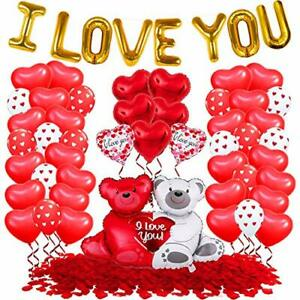 I Love You Balloons with Red Heart Balloons Set - 1000 Red Rose Petals
