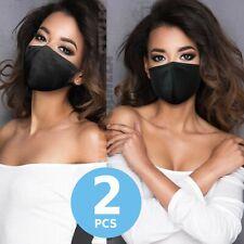 2 Pcs - Black 100% Cotton Three Layer Adult Face Mask - Reusable Washable Unisex
