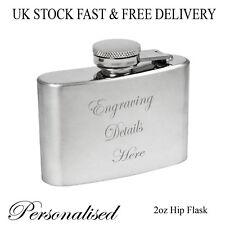 Personalised Engraved 2oz Hip Flask Mens Wedding Usher/Best Man Boyfriend Gift