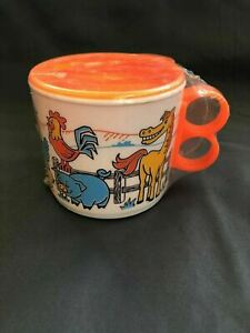 Vintage Children's Sippy Cup Farm Animal Theme 10oz NEW jl