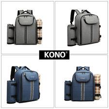 Large 4 Person Picnic Backpack Cool Bag Canvas Hamper Rucksack Set With Blanket