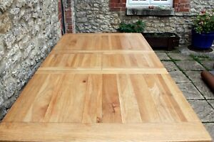 Stunning Solid Oak French Shaker Plank Top Farmhouse Extendable Harvest Table
