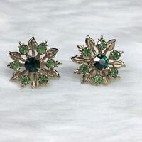 Vintage Gold Tone Flower Screw Back Earrings Green Rhinestone Accent