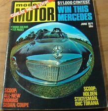 1971.MOTOR.Alfa Berlina 1750. Lotus ELAN. Mercedes 250.Falcon GS.Datsun 240Z