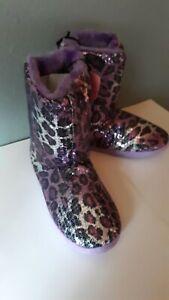 New Blazin Roxx Ladies Sequin Boot Slippers with Purple & Black Leopard Print