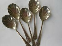 VINTAGE DESSERT SPOONS X 5 - EPNS - USED BUT GOOD CONDITION