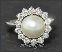 Diamant & Perlen Ring mit 1,15ct Brillanten, 585 Gold Damen Cocktailring