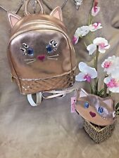 NEW!  BETSEY JOHNSON Quilted Rose Gold Jewel Kitty Cat Backpack Bag & Wallet SET