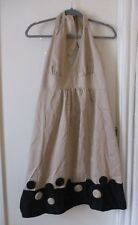 Kim Rogers 10 Halter beige dress cotton womens fit flare Black Trim