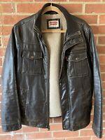 Dark Brown Levi's Men's Faux Leather Sherpa lined Bomber Jacket/Coat Size Medium