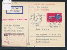 13520) LH FF Paris - Los Angeles 8.1.69, Karte ab Monaco CEPT