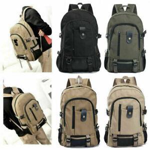 Mens Canvas Boys Backpack Rucksack Work Sports Travel Hiking School College Bag