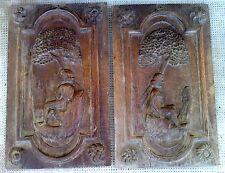 2 panneaux bois sculpté femme nue monoxyle CARRIER BRET  a MASSIER art populaire