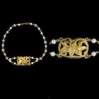 Vintage Art Nouveau Pearl Crystal Choker Brass  Necklace