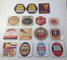 Lot of 15 Foreign Beer Wine Coasters Whitbread Shrewsbury Amstel Stella Artois
