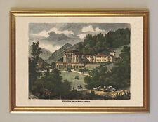 Ludwig II Villa Berchtesgaden Faksimile nach coloriertem Stahlstich 16 im Rahmen