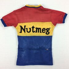 Vintage 50s 60s Nutmeg Cycling Jersey Sz MEDIUM RARE Faded Distressed Bicycle