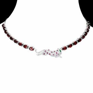 Unheated Oval Mozambique Garnet Cz 925 Sterling Silver Tiger Necklace 16.5 Ins