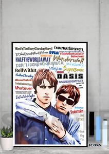 Oasis Brit Pop music icons Pop Art Poster Memorabilia/Collectable/Keepsake/Gift