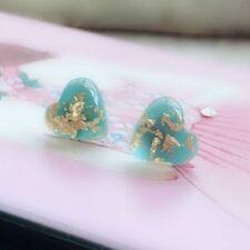 Cute Women Girl Natural Stone Turquoise Heart Shaped Earrings Ear Stud Jewelry J