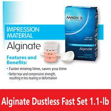Dental Impression Material Alginate Dustless Fast Set 30 Sec Mix Time 11 Lb