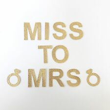 'MISS TO MRS' Glitter Bunting / Garland Decoration, Hens Party, Gold,