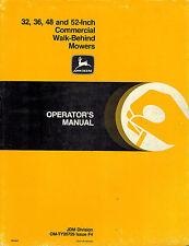 "JOHN DEERE 32 36 48 52-INCH COMMERCIAL WB MOWERS OPERATOR'S MANUAL jd ""NEW"""