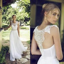 New White Ivory Crystals Chiffon Lace Beach Wedding dresses Simple Bridal Gown