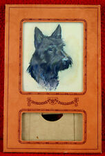 Antique Faux Leather Paper & Glass Desk Calendar Holder with Scottish Terrier