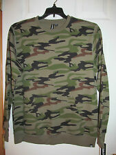NWT Men's Ocean Current Camo crew neck pull over sweater w/ front pocket Size S
