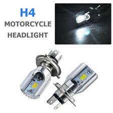 2x 12V H4 LED Moto Cyclomoteur Scooter 360° Hi-Lo Faisceau Lumière Ampoule 6500K