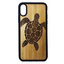 Sea Turtle Case made for iPhone X phones Bamboo Wood Cover + TPU Wrapped Edges