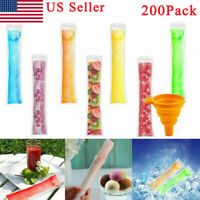 200PCS Ice Popsicle Molds Bags Disposable Candy Tube Zip-Lock Pouch Freeze Pops