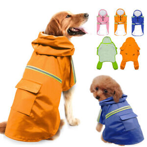 Dog Raincoats for Large Dogs with Reflective Strip Hoodie Waterproof Rain Jacket